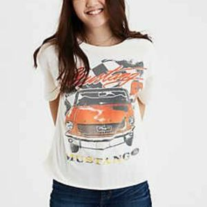 American Eagle Mighty Fine Mustang Cropped Tee LG